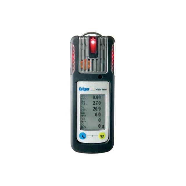 Détecteur multigaz portable X-am 5600 de Drager, dédié à la détection d'oxygène, chlore, monoxyde de carbone hydrogène, acide cyanhydrique, ammoniac, phosphine, dioxyde de soufre, phosgène, ozone ainsi que les amines, odorants et différentes vapeurs organ